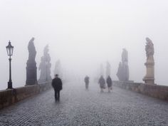 A foggy day in old Prague town