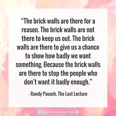 """The brick walls are there to stop the people who don't want it badly enough."" – Randy Pausch, The Last Lecture"