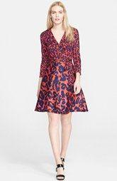 Diane von Furstenberg 'Amelia' Print Wool & Silk Wrap Dress