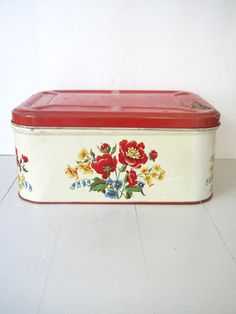 Vintage Bread Box Tin Red and Yellow Floral by BeatriceInBlue