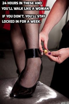 "anothersissycuck: "" feminization: "" 24 hours in these and you'll walk like a woman. if you don't, you'll stay locked for a week! "" I would love to be locked in heels for a week. My longest run so far..."
