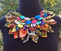 Ankara Button Bib & Button Earrings Statement neckpiece  Tribal Necklace - Statement Necklace - button Necklace - African Jewelry - African