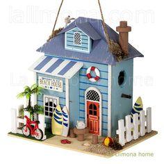 Decorative Bird Houses, Bird Houses Painted, Bird Houses Diy, Fairy Houses, Putz Houses, Beach Crafts, Crafts To Do, Homemade Bird Houses, Birdhouse Craft