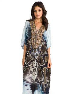 Camilla At Talons Length Long Lace Up Kaftan in Prey   REVOLVE
