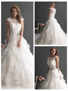 Cap Sleeves Ruffled Layered Ball Gown Wedding Dresses with Ruched Band…