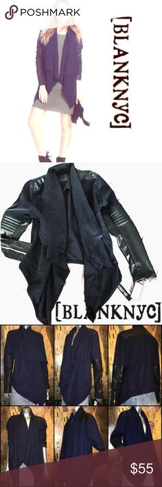 NWT BlankNyC Draped Moto Jacket Faux Leather/Wool Draped front vegan leather and wool blend, mixed fabric moto jacket with quilted sleeves. Black/Blue Size M New with tag... Blank NYC Jackets & Coats