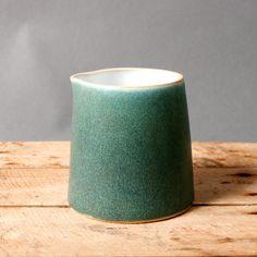 pitcher milk green studio pottery danish handmade by northvintage