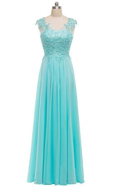 A Line V Neck Chiffon Tulle Appliques Lace Blue Long Prom Dress
