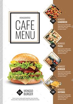 Buy Cafe Menu by monggokerso on GraphicRiver. Cafe Menu File Features : Size + Bleed area CMYK / 300 dpi Easy to edit text Well organized PSD file 2 A. Food Graphic Design, Food Poster Design, Web Design, Cafe Menu Design, Food Menu Design, Restaurant Flyer, Restaurant Menu Design, Menue Design, Brochure Food