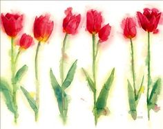 Watercolor tulips ... We could do a flower and write big sis lil sis up stem