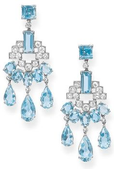 A pair of art deco aquamarine and diamond earings pendants by Cartier. Each designed as an openwork diamond panel to the five oval-shaped aquamarines suspending three drops, circa Bijoux Art Deco, Art Deco Jewelry, I Love Jewelry, Fine Jewelry, Jewelry Design, Modern Jewelry, Cartier Jewelry, Antique Jewelry, Vintage Jewelry