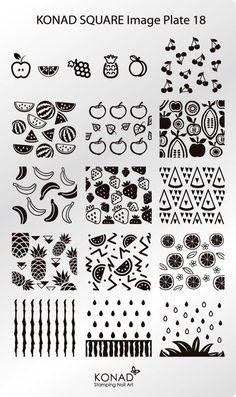 KONAD XL Square Stamping Schablone Plate 18 Nailart Nageldesign Früchte | Beauty & Gesundheit, Maniküre & Pediküre, Nail-Art-Zubehör | eBay!