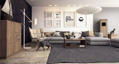 A cool, neutral color palette keeps this living room simply chic with SCANTLING FLOOR LAMP
