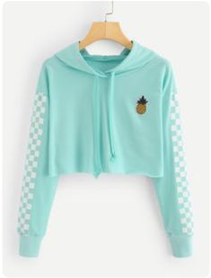 Angie Pineapple Checkered Crop Top Hoodie in Mint Turquoise - . - Angie Pineapple Checkered Crop Top Hoodie in Mint Turquoise – # - Teenage Outfits, Teen Fashion Outfits, Trendy Outfits, Girl Outfits, Fashion Women, Style Fashion, Fashion Ideas, Cute Teen Outfits, Fashion Top