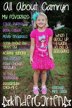 First Day of School Favorites...love this idea with the favorites overlaid first day pic.