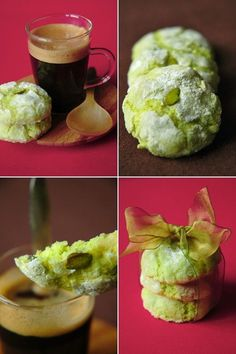 Almond and pistachio macaron cookies - color fits to Christmas dec . Easy Cookie Recipes, Sweet Recipes, Dessert Recipes, Macarons, Macaroon Cookies, Almond Cookies, Desserts With Biscuits, Fingerfood Party, Biscuit Cookies