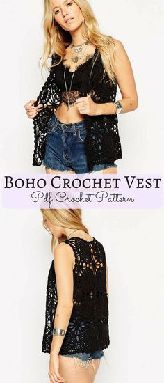 Getting ready for the festival season this summer with this cute boho vest crochet pattern. #bohovest #ad #pattern #crochet