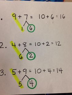 Great trick for teaching how to make 10. Students use a highlighter to find the…