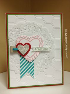 Stampin' Up! Hearts A Flutter, matching framelits, honeycomb embossing folder; by Cindy Brumbaugh, CindyLeeBeeDesigns