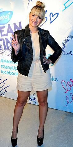 She's awesome..love the romper with the motorcycle jacket..DEMI LOVATO photo | Demi Lovato