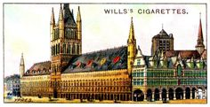 """Wills's Cigarettes """"Gems of Belgian Architecture"""" (set of 50 issued in 1915). No4 The Cloth Hall & Belfry, Ypres"""