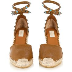 Valentino Rockstud espadrille wedge sandals ($895) ❤ liked on Polyvore featuring shoes, sandals, wedges, ankle wrap espadrille, embellished wedge sandals, wedge heel sandals, wedge espadrilles and tan sandals