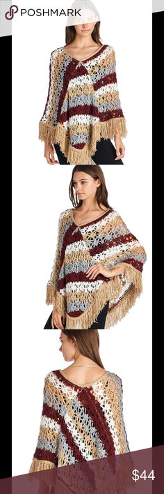 NEW! Boho Crochet poncho!❤️ Boho chic crochet in earth tones 100% soft acrylic wear over tank for more exposure or over long sleeve for warmth! New tagged in bag❤️ Sweaters Shrugs & Ponchos