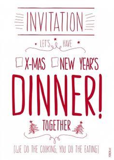 Uitnodiging voor kerst dinner kerstkaart van FDBCK cards versturen bij Kaartwereld: 20% korting bij het maken van een gratis account. New Years Dinner, Xmas Cards, Christmas Diy, Invitations, Bbq, December, Doodles, Winter, Ideas