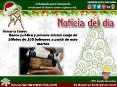 Los venezolanos que tengan billetes de 100 bolívares podrán usarlos en todos sus pagos hasta que salgan de circulación, y además tienen la posibilidad de canjearlos en la banca pública y privada o depositarlos en sus cuentas de cualquier entidad bancaria durante un lapso de 72 horas, a partir de este martes 13 de diciembre.   https://www.lapatilla.com/site/2016/12/13/banca-publica-y-privada-inician-canje-de-billetes-de-100-bolivares-a-partir-de-este-martes/