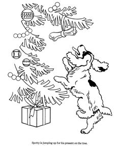 The Dog Has Seen Its Gift A Delicious Bone Hanging From Christmas Tree Coloring Page