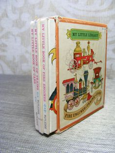 Vintage 60s Book Boxed Set TRANSPORTATION Cars Library Mod Fire Engines, Trains, Rutledge Illustrated Miniature, My Little Library on Etsy, $18.00