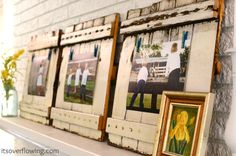 Repurposed wood frames with clothespin clips