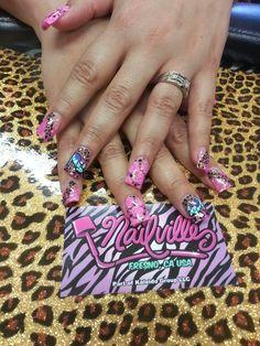 Girly Nail art. Acrylic Nails. Nails by Jamie.