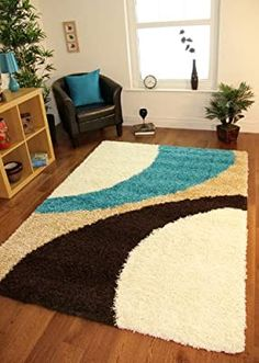 Helsinki 1960 Teal Blue, Brown & Cream Thick Pile Soft Next Style Shaggy Rugs - 5 Sizes by The Rug House, I found what I wanted! Teal Living Rooms, Rugs In Living Room, Living Room Decor, Latch Hook Rugs, New Interior Design, Room Interior, Patterned Carpet, Carpet Design, Traditional Decor