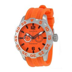 Nautica BFD 100 Multi-Function Orange Dial Orange Silicone Men's Watch (W-A16606G)