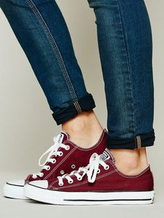 a70ee413ee38 Free People Red (Burgundy) Charlie Converse Maroon Converse Outfit