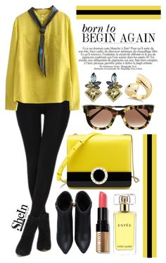 """""""Born to Begin Again"""" by gorgeautiful ❤ liked on Polyvore featuring Chanel, Bobbi Brown Cosmetics, Estée Lauder, Elizabeth and James, yellow, Sheinside, Leggings, spring2016 and shein"""