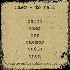 """Caer"" to fall. An irregular verb in the present tense in Spanish."