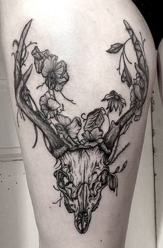 Mirja Fenris, tattoo, ink, deer, stag, nature, flowers