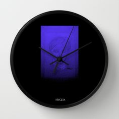 """""""Hygeia""""   Available in natural wood, black or white frames, $30.00 - our 10"""" diameter unique Wall Clocks feature a high-impact plexiglass crystal face and a backside hook for easy hanging. Choose black or white hands to match your wall clock frame and art design choice. Clock sits 1.75"""" deep and requires 1 AA battery (not included). #clock #wall #health #homedecor #goddess #greekgod #hygeia"""