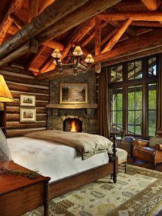 Cabin Style Homes, Log Cabin Homes, Log Cabin Bedrooms, Rustic Bedrooms, Rustic Cabin Master Bedroom, Log Home Bedroom, Quirky Bedroom, Rustic Bedroom Design, Bedroom Romantic