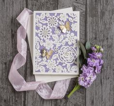 Floral lace gold butterfly laser cut wedding invitations with lilac inserts