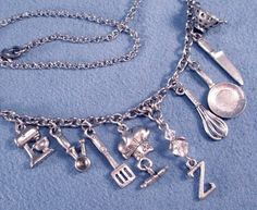 Love to Cook or Bake Silver Charms Necklace Culinary Chef Food Cooking Baker Kitchen Utensils. $41.95, via Etsy.