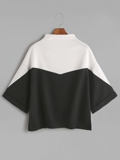 Shop Color Block Mock Neck Slit Side Cuffed T-shirt online. SheIn offers Color B… Shop Color Block Mock Neck Slit Side Cuffed T-shirt online. SheIn offers Color Block Mock Neck Slit Side Cuffed T-shirt & more to fit your fashionable needs. Black And White T Shirts, Black T Shirt, Black White, Mode Hijab, Mode Inspiration, Mock Neck, Diy Clothes, Ideias Fashion, Fashion Dresses