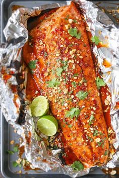 Thai Salmon in Foil - Damn Delicious Fish Dishes, Seafood Dishes, Seafood Recipes, Fish And Seafood, Cooking Recipes, Cooking Fish, Oven Recipes, Bbq Fish Recipes, Recipes Dinner