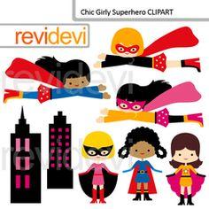 Digital clip art Multi Racial Superhero - Value Bundle Set of 3 from revidevi on TeachersNotebook.com (24 pages)