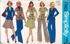 1970s Simplicity 7140  Misses Skirt Pants  and Front Wrap Jacket Pattern by mbchills from 1975 womens vintage sewing pattern
