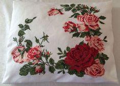 ROSE CROSS STITCH Pillow Hand made Free Shipping by blueschwarz