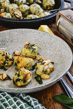 Recipe: Elien Lewis' Silverbeet Gnudi - thisNZlife Clean Recipes, Pie Recipes, Cooking Recipes, Healthy Recipes, Sage Butter Sauce, Coconut Soup, Spinach And Feta, Sliced Almonds, Beetroot