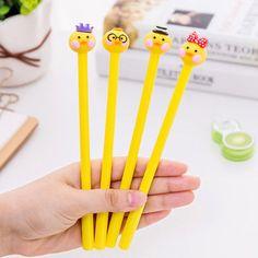 4PC Cute Cartoon Yellow Duck Shape Black Gel Ink Pen Novelty Students Stationery
